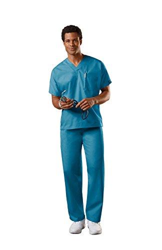 Cherokee Uniforms Authentic Workwear Unisex Scrub Set (Caribbean Blue, XL) -