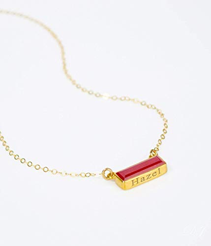 July Birthstone Necklace, Gold Ruby Bar Necklace, Custom name necklace AB