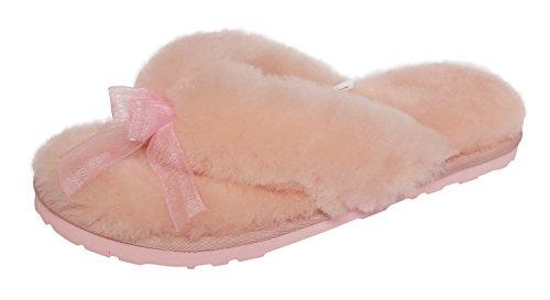 Pantofole Infradito Donna In Pelle Di Pecora Slpr Rosa