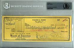 Walt Disney Signed Check - Beckett (Disney Personal Checks)