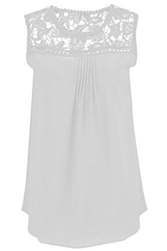 Manzocha Women's Lace Chiffon T Shirt Stitching Blouse Hollow Out Tops – Medium, White