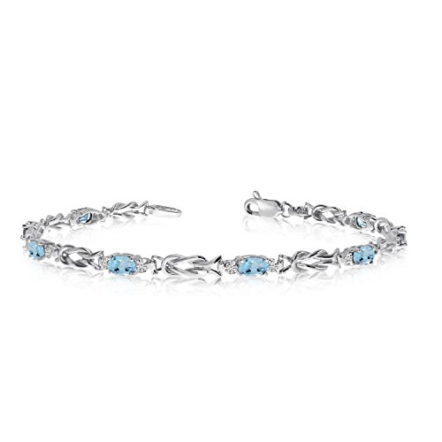 14K White Gold Oval Aquamarine and Diamond Bracelet (9 Inch ()