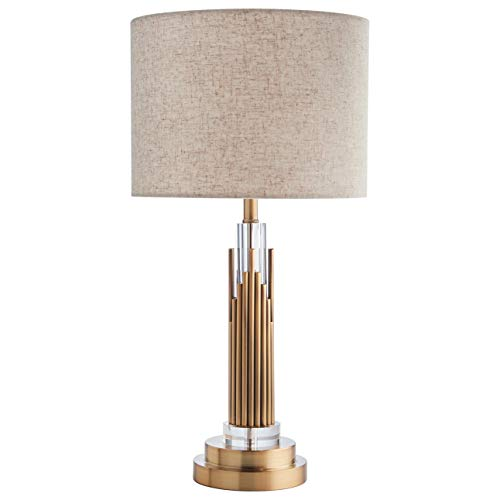 Stone & Beam Modern Art Deco Living Room Table Desk Lamp With Light Bulb  - 6 x 6 x 24 Inches, Brass with Linen ()