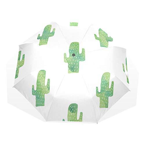 HangWang Umbrella Watercolor Cacti Travel Golf Sun Rain Windproof Umbrellas with UV Protection for Kids Girls Boys