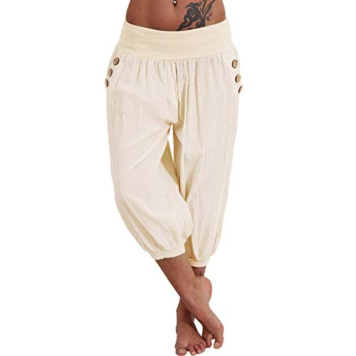 vermers Women Trousers Women Elastic Waist Boho Check Pants Baggy Wide Leg Summer Casual Yoga Capris(4XL, - Leggings Straight Wool Leg