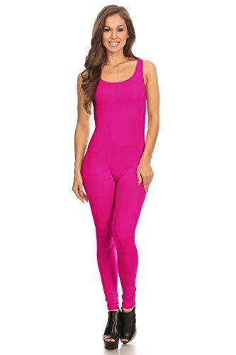 Women's Scoop Neck Sleeveless Stretch Cotton Jersey Unitard Bodysuits (Large, ()