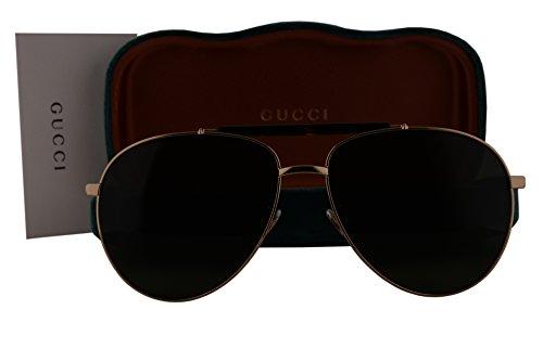 Gucci GG0014S Sunglasses Gold Dark Havana w/Green Lens 006 GG - New Gucci Sunglasses 2017