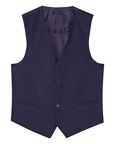 Massimo Dutti Men Slim fit Navy Blue Worsted Wool Waistcoat 2705/270 (50 ()