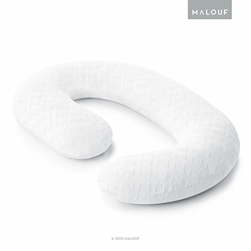 MALOUF Soft Bamboo Replacement Cover-Fits Z C-Shape Wrap Around Body Pillows, White