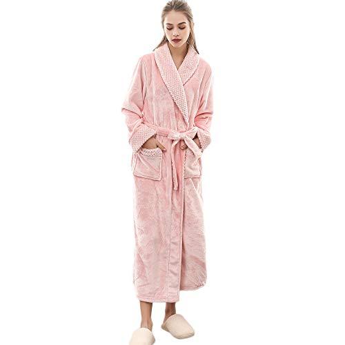 Kim88 Women's Lengthened Coralline Plush Shawl Bathrobe Long Sleeved Robe Coat Winter Warm Kimono Robe Bathrobe Nightwear Sleepwear (3XL, ()