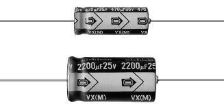 22uf Axial Capacitors - TVX1E220MAA 22uF, 25V, 20%, 5 X 12, Axial Lead Electrolytic Capacitor (10 pack)