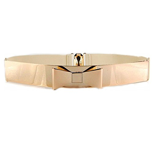 Big Gold Belt (Women Fashion Gold Metal Keeper Metallic Big Mirror Bow Wide Obi Belts)