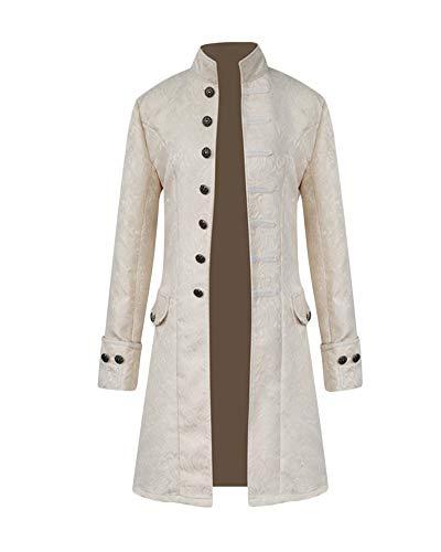 Men's Steampunk Luxurious Jacquard Vintage Tailcoat Jacket Gothic Victorian Coat Halloween Uniform Costume White 2XL ()