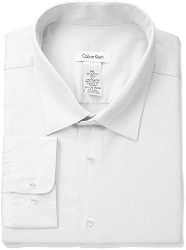 Calvin Klein Men's Regular Fit Stretch Solid Spread Collar Dress Shirt, White, Large