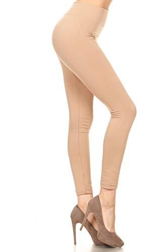 Leggings Depot Women's Popular REG/Plus Premium Warm Fleece Lined Leggings Tights Pants (Plus Size (Size 12-24), Khaki)