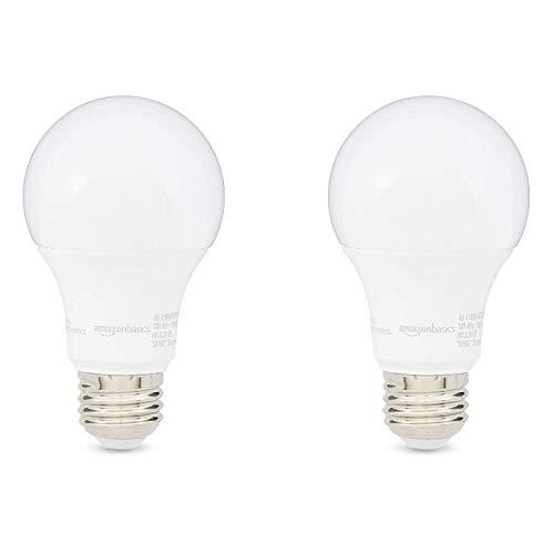 AmazonBasics 60W Equivalent, Soft White, Dimmable, 10,000 Hour Lifetime, A19 LED Light Bulb | 2-Pack
