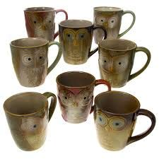 Set Of 8 Gibson Large 17oz Ceramic Owl Shape Coffee Mug Set Red Blue Brown Green