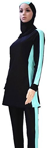 YEESAM Muslim Swimsuit Islamic Full Cover Modest Swimwear Beachwear Burkini (XL, Detachable Hijab) by YEESAM