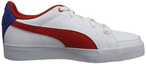 Puma Court Point Jr 351221 Unisex-Kinder Sneaker Weiß (white-high risk red-monaco blue 19)
