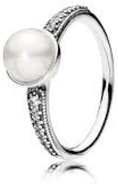 PANDORA Elegant Beauty Ring, White Pearl & Clear CZ 191018P-48, 4.5 US, 60 Euro