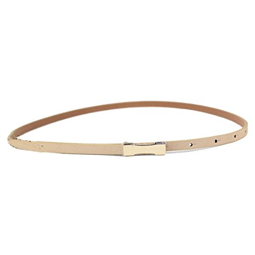 [Outtop Women's Elegant Slim Thin Leather Belt Lichee Pattern Gold Buckle (Khaki)] (Elegant Khaki)