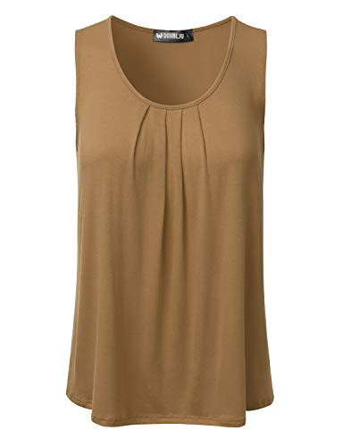 DRESSIS Women's Basic Soft Pleated Scoop Neck Sleeveless Loose Fit Tank Top DKMOCHA M