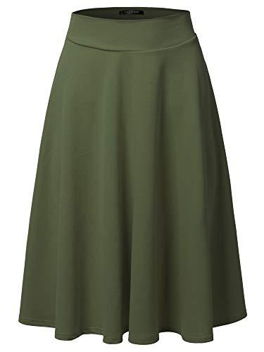 SSOULM Women's High Waist Flare A-Line Midi Skirt Olive L