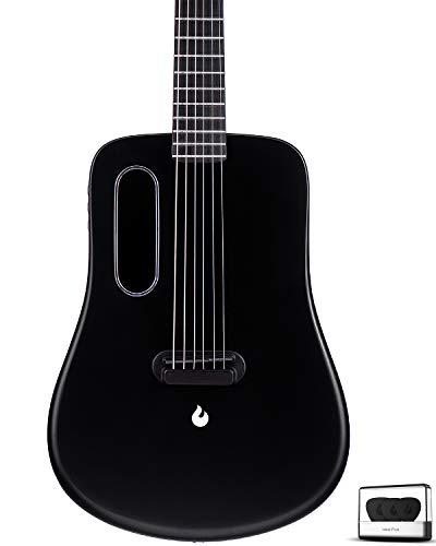 Traveler Guitar, Dreadnought Acoustic Electric Guitar, Natural 6 String Classical Guitar, Top Carbon Fiber Guitar by LAVA ME 2 (Black)