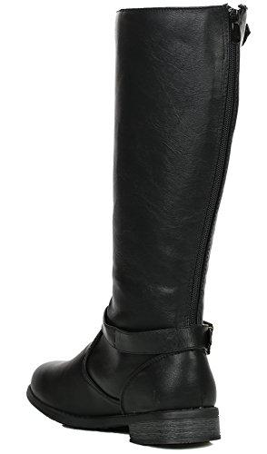 Top Moda Damen COCO 1 Kniehoher Reitstiefel Schwarze Doppelschnalle
