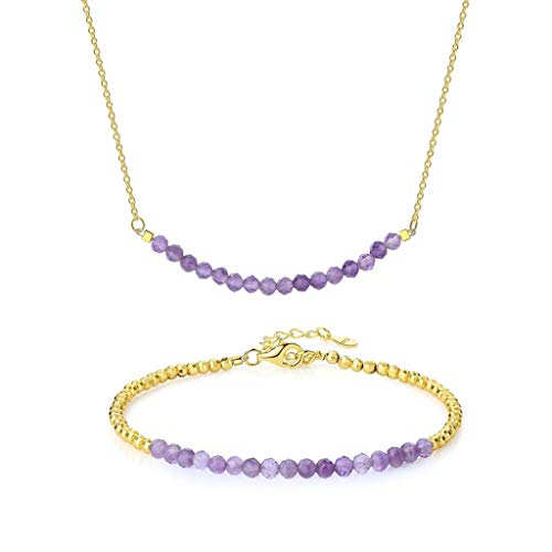 OKIKO Women 925 Silver Faceted Round Birthstone/Gemstone Beads Choker Necklace and Bracelet Set February Amethyst