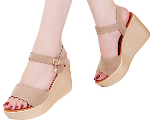 Hemlock Women Platform Sandals, Peep Toe Wedges High Thick Bottom Sandals Shoes Ladies Summer Wedding Party Shoes Beige