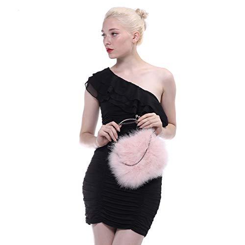 Ursfur-Elegant Fashion Sac à bandoulière en fourrure d'autruche, meilleur cadeau de Noël et amour rose