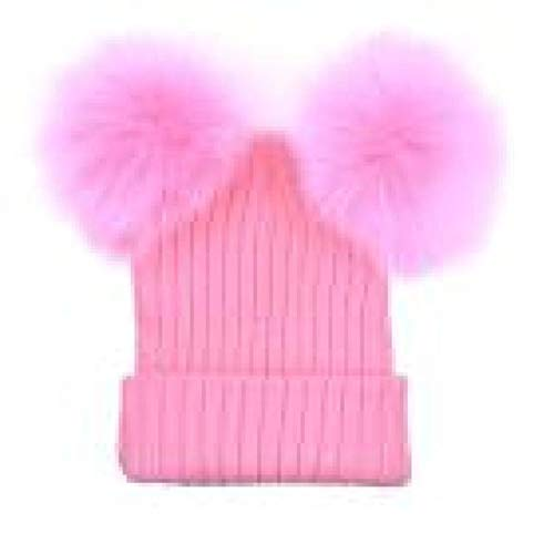 Touring Skis Crown - Pompom Hat Winter Caps Knitted Wool Cotton Hats Two Pom Poms Skullies Beanies Cap,Pink,One Size