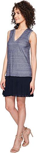 Nicole Miller Women's Blossom Chambray Silk Combo Dress Chambray Multi Dress