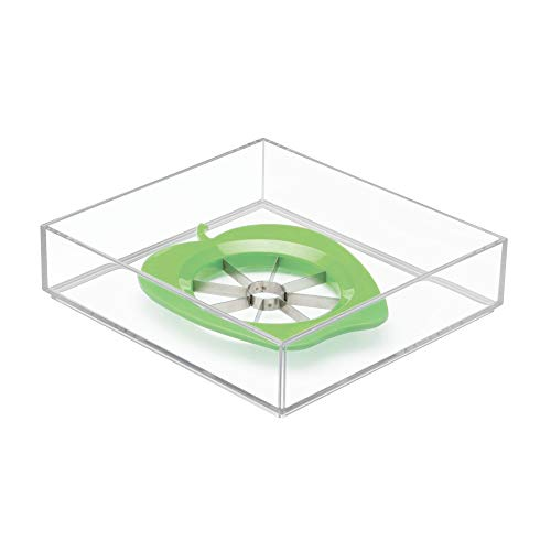 - InterDesign Clarity Plastic Drawer Organizer, Utensil Storage Container for Kitchen Cabinets, Vanity, Bathroom, 8