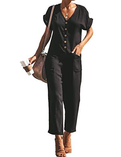ACCLEYA Women's Button Front Pocket Side Short Sleeve Rolled Hem Solid Utility Jumpsuit (Large, Black)