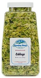 Harmony House Foods Dried Cabbage, flakes (8 oz, Quart Size Jar) for Cooking, Camping, Emergency Supply, and More