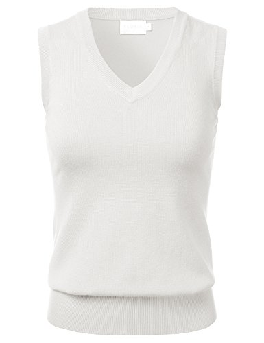 FLORIA Women Solid Clssic V-Neck Sleeveless Pullover Sweater Vest Top Ivory M