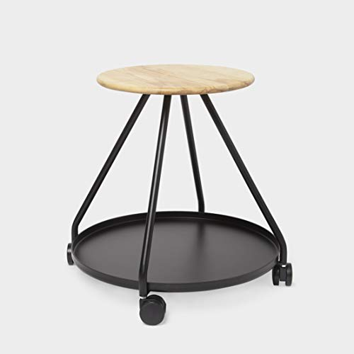 - Umbra Shift 1010206-045 Hover Stool with Caster Wheels and Storage, Black Powder-Coated Steel, Natural Ash Wood Seat