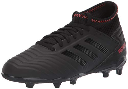 adidas Unisex Predator 19.3 Firm Ground, Black/Active red, 5 M US Big -