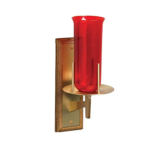 - F.C. Ziegler Sanctuary Lamp with Wood and Brass Wall Plate