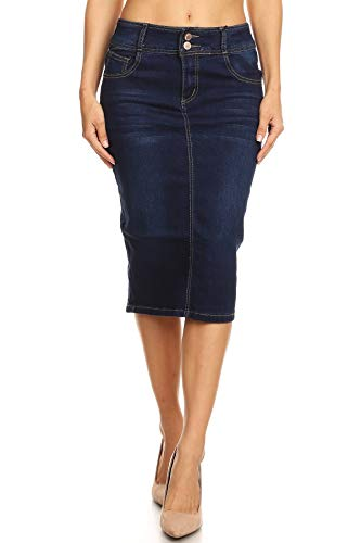 Women's Plus Size Mid Waist Below Knee Length Denim Skirt in a Pencil Silhouette in Dark Blue Size 1XL