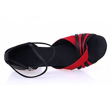 XIAMUO Anpassbare Women's Ballroom Dance Schuhe Satin Latin/Salsa Sandalen angepasste Ferse Innen-/Performance Schwarz Rot, Schwarz/Rot, Us7.5/EU38/UK5.5/CN 38