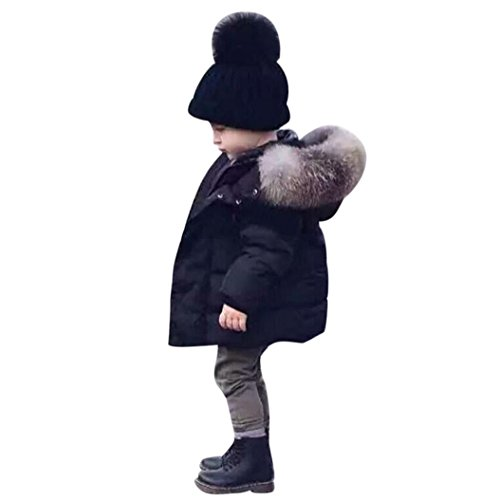 Boy's Winter Padded Jacket Thick Hooded Parka Outwear Coat with Faux Fur Trim (4T, Black)