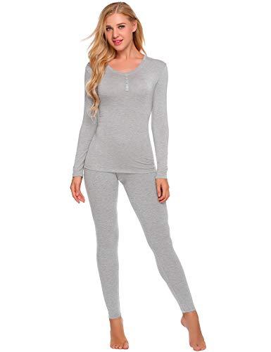 Ekouaer Womens Thermal Underwear Set Henley Base Layer Stretch Top & Bottom, Grey, Large (Pointelle Henley Top)