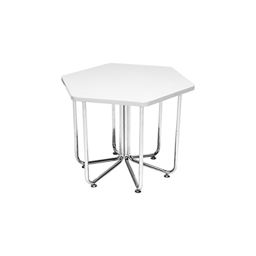 (OFM 66T-WHT Hex Series Table with Chrome Frame)