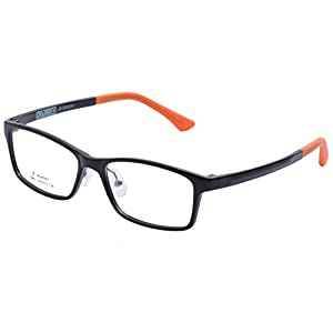 De Ding Children's Lightweight Optical Glasses Frame with Silicon nose pads (black orange, clear)