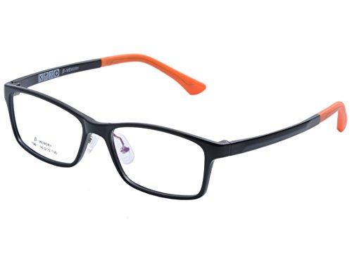 DEDING Kinder leichte optische Brillenfassung, Schwarz / Orange,