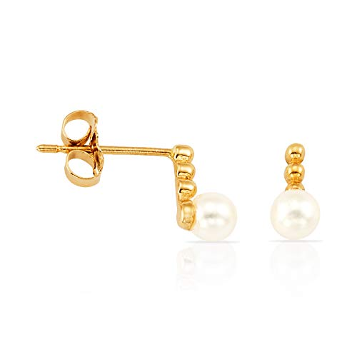 Real 14k Yellow Gold White Pearl Stud Earrings with Beaded Bar for Women and Girls ()