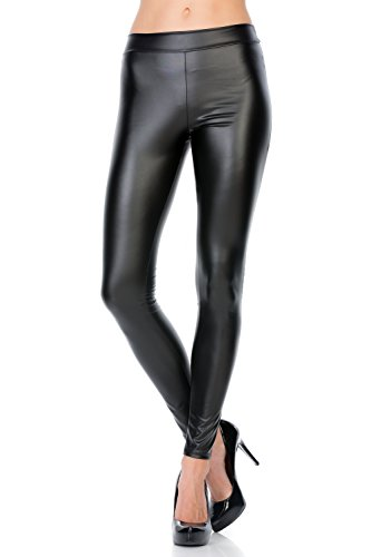 Large Womens Motorcycle Pants (HerShe Women's Faux Leather Stretchy Sexy Catwoman Leggings Pants (1X-Large, Black))
